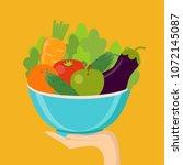 healthy eating concept. hand...   Shutterstock .eps vector #1072145087