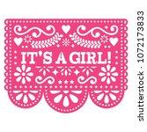 it's a girl papel picado vector ... | Shutterstock .eps vector #1072173833