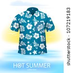 Hawaiian SHIRT, marine color. Complex VECTOR illustration, created with attention to details. - stock vector