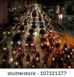 BANGKOK- NOV 29: With more then 8 million inhabitants there are many traffic jams in Bangkok on Nov 29, 2011, Bangkok, Thailand. Especially in the middle of the city (around Siam Square) and around peak hours - stock photo