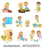cute little bully kids set ...   Shutterstock .eps vector #1072223573