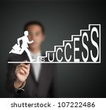 business man start to run and climb up  success stair figure drawn by a businessman - stock photo