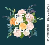 floral design with colorful... | Shutterstock .eps vector #1072236917