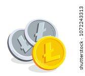 litecoin. 2d cartoon bit coin.... | Shutterstock .eps vector #1072243313
