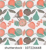 bird in a fruit garden. seamless pattern - stock vector