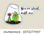 sticker with cactus in... | Shutterstock .eps vector #1072277447
