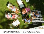 top view of group of friends... | Shutterstock . vector #1072282733