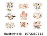 spring  1 may set for label... | Shutterstock .eps vector #1072287113
