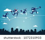 business team balancing on... | Shutterstock .eps vector #1072310933