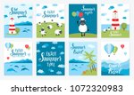 summer vector cards with hot... | Shutterstock .eps vector #1072320983