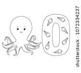 octopus for letter o in kids... | Shutterstock .eps vector #1072334237