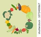 round frame of vegetables.... | Shutterstock .eps vector #1072400867