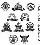 nautical and marine heraldic... | Shutterstock .eps vector #1072420973