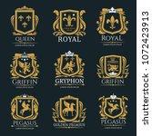 heraldry vector logo set.... | Shutterstock .eps vector #1072423913