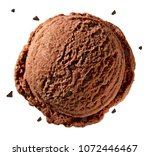 Stock photo chocolate ice cream scoop with broken chocolates or chips isolated on white background 1072446467