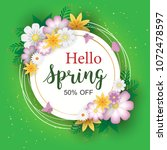 spring sale background with... | Shutterstock .eps vector #1072478597