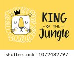 king of the jungle. cute lion... | Shutterstock .eps vector #1072482797