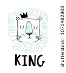 cute hand drawn lion in... | Shutterstock .eps vector #1072482803