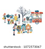 people shopping and selling... | Shutterstock .eps vector #1072573067