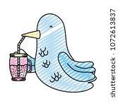 doodle beauty bird animal...   Shutterstock .eps vector #1072613837