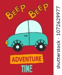 typography slogan with beep car ... | Shutterstock .eps vector #1072629977