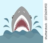 shark with open jaws and sharp... | Shutterstock .eps vector #1072634453