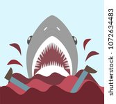 bloody shark with open mouth.... | Shutterstock .eps vector #1072634483
