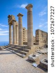 Small photo of Temple of Athena Lindia in the Acropolis. Rhodes, Greece, Europe
