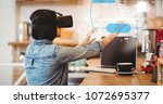 Small photo of Digital composite of Digital composite image of woman using VR glasses