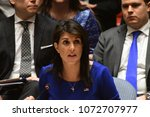 Small photo of NEW YORK CITY - APRIL 14 2018: The UN Security Council held an emergency to debate & vote a Russian resolution condemning US & Allied aggression against Syria. Nikki Haley, permanent representative
