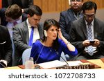 Small photo of NEW YORK CITY - APRIL 14 2018: The UN Security Council held an emergency to debate & vote a Russian resolution condemning US & Allied aggression against Syria. US Representative Nikki Haley