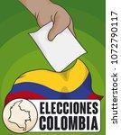 voter depositing its vote in... | Shutterstock .eps vector #1072790117