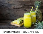pineapple smoothie juice yellow ...   Shutterstock . vector #1072791437