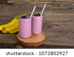 blueberry juice and banana...   Shutterstock . vector #1072802927