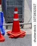 orange traffic cones in the... | Shutterstock . vector #1072832327