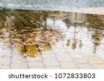 muddy puddles with oak leaves... | Shutterstock . vector #1072833803