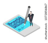 electronic signature tablet.... | Shutterstock .eps vector #1072856867