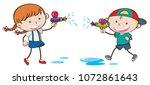 doodle kids playing water gun... | Shutterstock .eps vector #1072861643