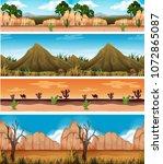 four different beautiful desert ... | Shutterstock .eps vector #1072865087