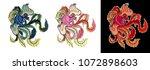 chinese peacock tattoo.phoenix... | Shutterstock .eps vector #1072898603