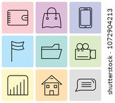 set of 9 simple editable icons... | Shutterstock .eps vector #1072904213