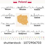 vector outline icons of poland... | Shutterstock .eps vector #1072906703