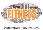 fitness word cloud. vector... | Shutterstock .eps vector #1072913693
