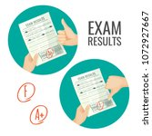 exam results with excellent and ... | Shutterstock .eps vector #1072927667