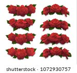 red rose half oval crowns and... | Shutterstock .eps vector #1072930757