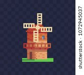 windmill logo pixel art icon.... | Shutterstock .eps vector #1072945037