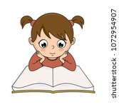 girl reading a book. vector... | Shutterstock .eps vector #1072954907