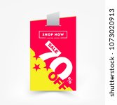70  off sale label price tag.... | Shutterstock .eps vector #1073020913