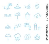 water and drop icon set in thin ... | Shutterstock .eps vector #1073028083