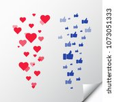 heart love. thumbs up. like.... | Shutterstock .eps vector #1073051333